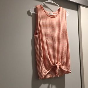 Peach and cream striped tank with tie front.